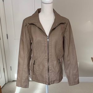 Sebby Collection Tan Faux Leather Jacket